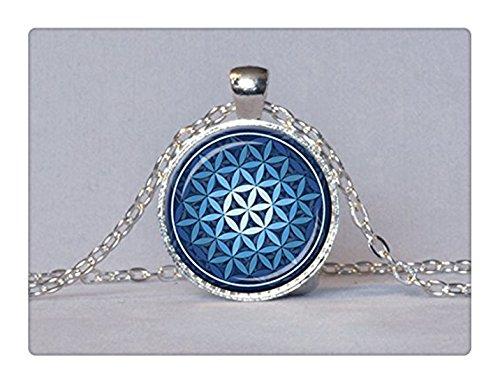 Colgante Flor de la vida azul colgante Espiritual Jewelry–Collar de Mandala Yoga Colgante
