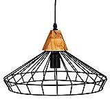 Suspensión de lámpara en hilo metal y madera - Diámetro 38 cm - Estilo Vintage - Colores negro y madera