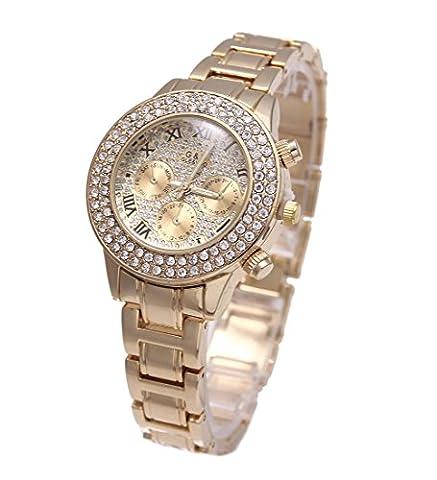 Sheli Gold überzogener Rhinestone Betonte Chronograph Wasserdichte Quarz Armbanduhren für