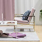 Samt Sessel Rosa Stuhl Loungesessel Armlehnenstühle Polsterstuhl Cocktailsessel Clubsessel Skandinavisches Design mit Kupfer Blick Messing Plattiert Gold Finish Stahl/Metall Rahmen