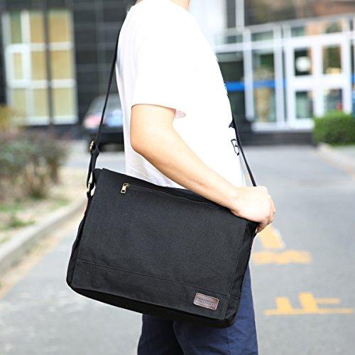 Eshow Herren Canvas Freizeit Täglich Umhängetasche Schultertasche Tasche 14 Zoll Laptop Geeign, Braun Schwarz