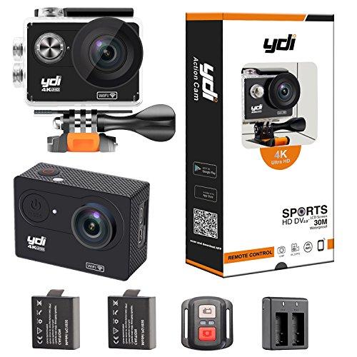 YDI Action Kamera 4K WIFI Sports Cam Wasserdicht 30M Ultra HD 12MP Unterwasserkamera Helmkamera mit Fernbedienung, 2 Batterien und Zubehör Kits (Schwarz)