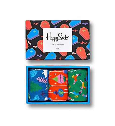 Happy Socks Gemischt farbenfrohe Geschenkbox an Baumwollsocken für Männer und Frauen,Mehrfarbig (Halloween Gift Box),41-46