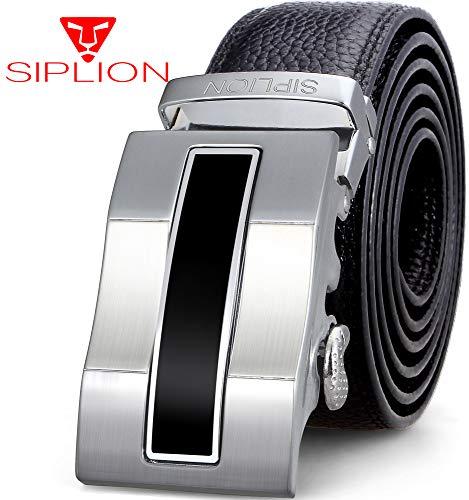 SIPLION Herren 100% echtes Leder Gürtel Solid Gürtelschnalle mit automatischer Ratsche 35mm breit 1701 Schwarz 115M