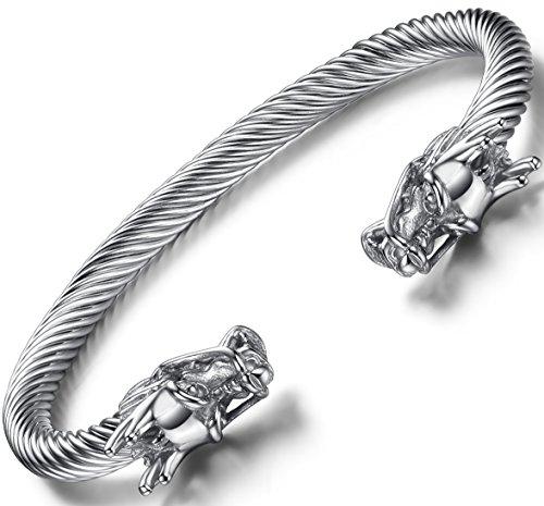 OSTAN Herren Double Head Dragon Armband verstellbar Edelstahl Remasuri Manschette Cool poliert