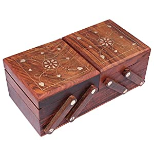 S.B.ARTS Handmade Brown Decorative Wooden Brass Flip Flap Jewellery Box| Jewel Organizer| Gift Items | 8 Inches