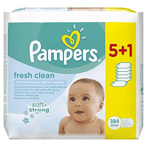 Pampers Fresh Clean Feuchttücher, 6Packungen 384Feuchttücher