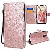 VemMore für Huawei Mate 20 Lite Hülle Handyhülle Schutzhülle Leder PU Wallet Flip Case Bumper Lederhülle Ledertasche Blumen M
