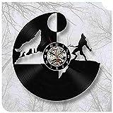 Yanshu Reloj de Pared de Vinilo para la Sala de Estar, decoración del Dormitorio The Wolf Modern Design Record Negro 12 Pulgadas