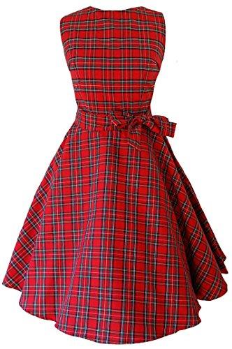 Damen Kleid, Vintage-/ Retro-/ Rockabilly-/ Punk-Stil, Schottenkaro, Swing-/ Skater-/ Party-Kleid mit Tellerrock, Größe 32-52 Gr. 52, rot (Plus Size Punk Kleid)