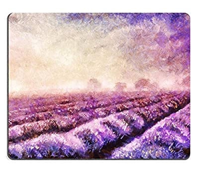 Luxlady Mousepads Original oil painting of lavender fields on canvas Sunset landscape Pink IMAGE 37708288 Customized Art Desktop Laptop Gaming mouse Pad - low-cost UK light store.