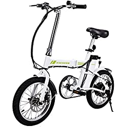 aceshin Bicicleta Eléctrica Plegable de Montaña Con Rueda 16 Pulgadas, Batería de Litio de 36V, 250W para Adulto E-bike con Pantalla del Manubrio