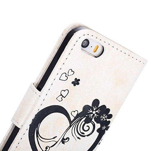 Hülle für iPhone SE, Tasche für iPhone 5 5S, Case Cover für iPhone 5 5S SE, ISAKEN Blume Schmetterling Muster Folio PU Leder Flip Cover Brieftasche Geldbörse Wallet Case Ledertasche Handyhülle Tasche  Herz Blumen Weiß