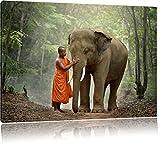 wunderschöner Elefant mit Mönch, Format: 120x80 auf Leinwand, XXL riesige Bilder fertig gerahmt mit Keilrahmen, Kunstdruck auf Wandbild mit Rahmen, günstiger als Gemälde oder Ölbild, kein Poster oder Plakat