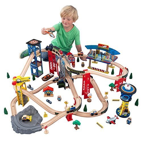 KidKraft Wooden Toy Train Set Super Highway