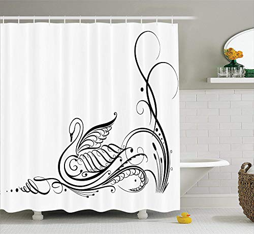 tgyew Animal Decor Shower Curtain Set, Exquisite Black Swan in River Calligraphy Style Artsy Illustration Minimalist Bird Theme, Bathroom Accessories, 72x72 inches, White Black (Black Swan Halloween-ideen)