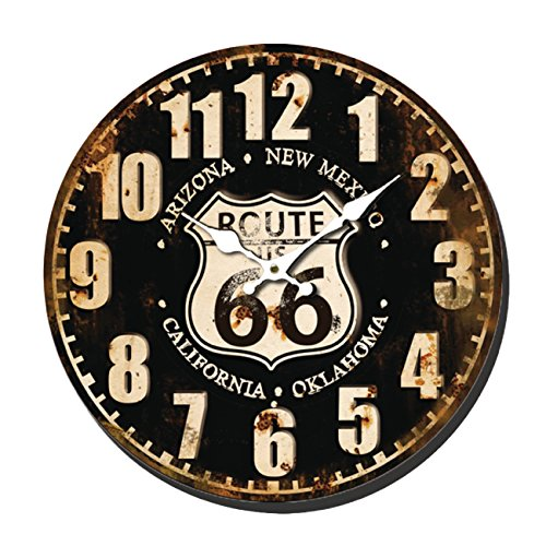 HORLOGE MURALE RETRO DECOR ROUTE 66 METAL VIEILLI 40CM