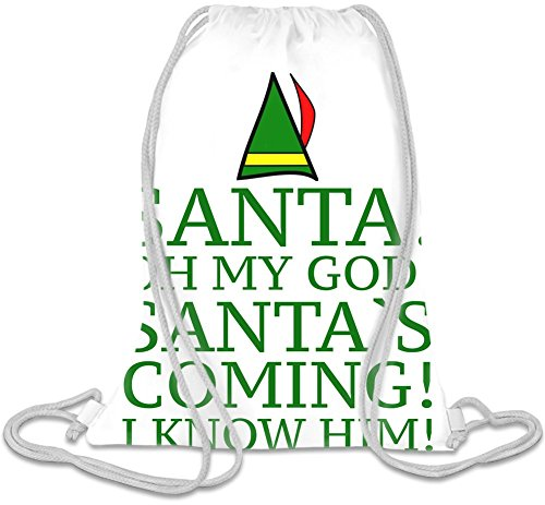 Santa Oh My God Santa's Coming Slogan Kordelzug Beutel (Gym Wwe Bag)