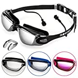 Proworks Swimming Goggles with Mirrored Lenses, UV Protection and Anti-Fog Coating - for Adults,...