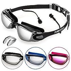 Proworks Schwimmbrille mit verspiegelten Gläsern, UV Schutz und Anti-Beschlag-Schutz - für Erwachsene, Kinder Männer und Frauen | Voll Verstellbar - Schwarz