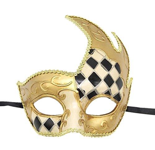 Flywife Herren Maskerade Maske Venezianisch Retro Kariert Halloween Kostüme Party Karneval Mardi Gras Maske (Schwarz)