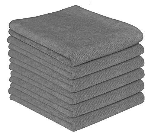 Gryeer 6er-Set Mikrofaser Geschirrtücher, hoch saugfähig, dick und fusselfrei Küchentücher, 65x45cm, Grau