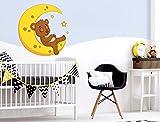 I-love-Wandtattoo WAS-10401 Kinderzimmer Wandsticker Liegendes Bärchen auf dem Mond mit Sternen zum Kleben Wandtattoo Wandaufkleber Sticker Wanddeko