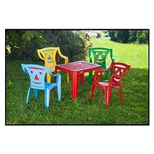 ensemble de jardin pour enfant plastique avec 4 si ges couleur et 1 table jeux et. Black Bedroom Furniture Sets. Home Design Ideas
