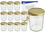 MamboCat - Set di 12 vasetti da 230 ml, con coperchio dorato, Ø 66 mm Include: ricettario 'Diamant Gelierzauber' (lingua italiana non garantita), barattoli da marmellata, conserva o salsa
