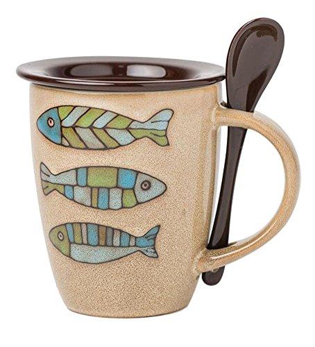 Black Temptation Tasse de café de Motif de Poissons de céramique avec cuillère et Couvercle