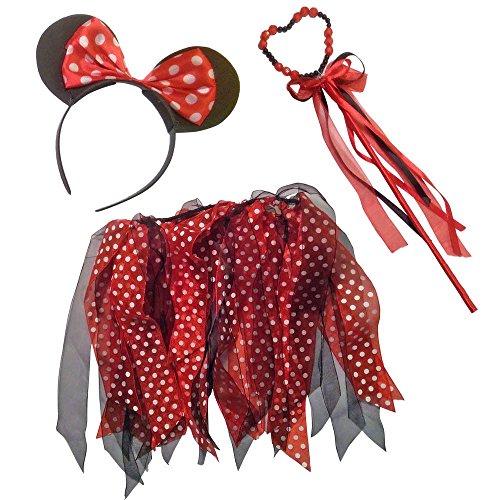 Mädchen Minnie Mouse oder Regenbogen Ohren Tutu & Wand Fancy Dress Up Set