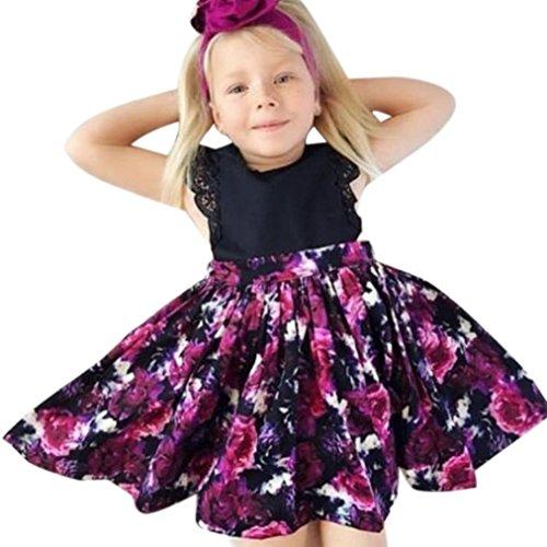 ❥Elecenty Mädchen Baby Schwester Prinzessin Kleid,Tutu Kleid Stirnband Set Kinder Blumenmuster Sommerkleid Strandkleid Blumenspitze Kleider Lose Ballkleid Partykleid Tüllkleid (110cm, Mädchen Schwarz) Stirnband-sets Für Mädchen