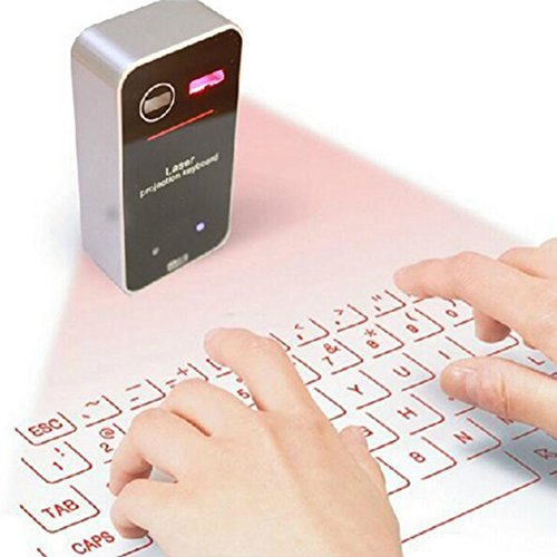 Highdas Wireless Laser Projection Bluetooth Virtual Keyboard mit Maus für iPhone iPad Smartphone PC und Tablets Schwarz A