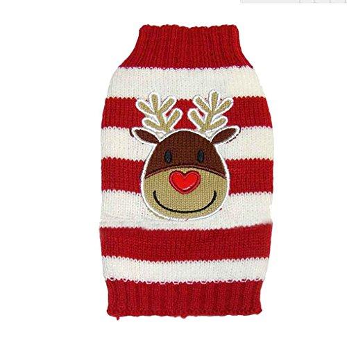 Elch Haustier Pullover f¨¹r kleine bis mittelgro?e Hunde Farbe horizontale Streifen Weihnachten Urlaub Xmas (Kostüme Weihnachten Hund Urlaub)