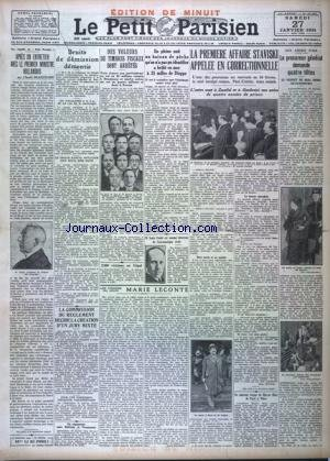 PETIT PARISIEN EDITION DE MINUIT (LE) [No 20787] du 27/01/1934