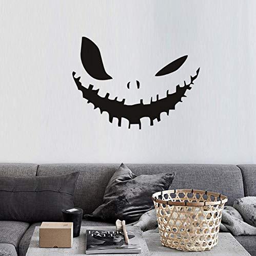 ber Wandbild für Mädchen Jungen Vinyl für Zuhause Kunst Dekor Zitate Kürbis Gesicht Happy Halloween Party 44x32cm ()
