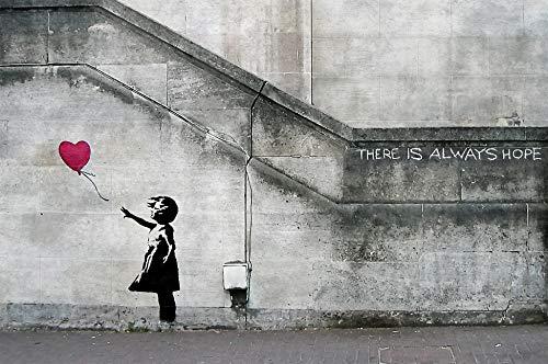 GREAT ART Póster Banksy Arte Chica con Globo Mural Decoración Siempre Hay Esperanza Banksy Chica con Globo Banksi Arte Urbana Plantilla | Foto póster Mural Imagen Deco Pared by (140 x 100 cm)