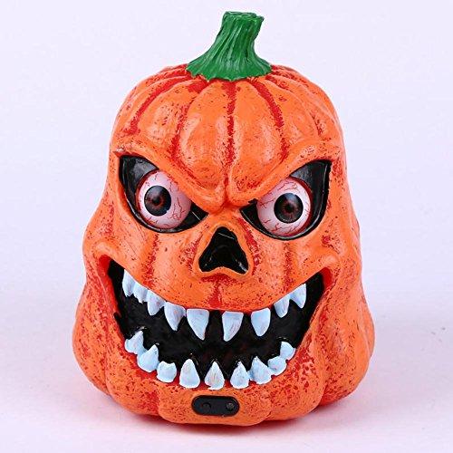 Wut Kürbis Ghost 'Head Dekoration Halloween Beleuchtung Augäpfel Lichter und schreckliche Sounds hochwertige Kunststoff Material Umwelt Malerei CL (Moderne Kostüm Geist)