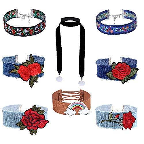 MingJun 8 PCS Schwarz und Braun Choker Halskette Set Länge Verstellbare Kragen Chokers Bestickte Rote Rose Blume Halskette für Frauen -
