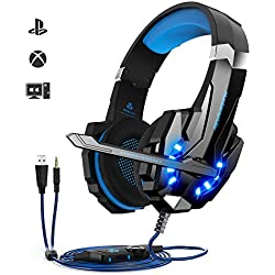 Auriculares Gaming PS4,Cascos Gaming, Auriculares Cascos Gaming de Mac Estéreo con Micrófono Juego Gaming Headset con 3.5mm Jack Luz LED Bajo Ruido Compatible con PC/Xbox One/Nintendo Switch/Móvil