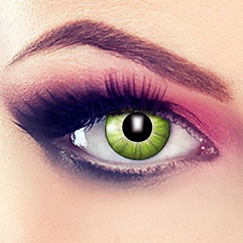 Taffstyle® Farbige Linsen crazy Fun Halloween Karneval Kostüm Kontaktlinsen Motivlinsen 3 Monatslinsen ohne Stärke Grün - Green (Hut Kostümen Wolf)