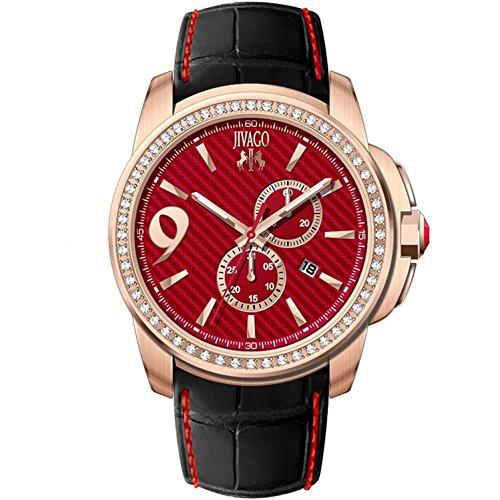 JIVAGO Men's GLIESE 43MM Leather Band Steel CASE Swiss Quartz Watch JV1534