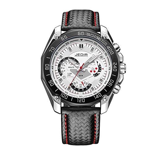 Gute Style militaire pour homme chronographe Cadran blanc montre