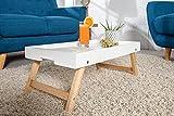 myshop24h Eleganter Beistelltisch Serviertablett Skandinavisch Schlafzimmer Wohnzimmer Tisch, Farbe:Weiß
