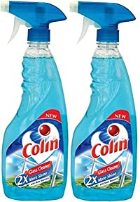 Colin Glass Cleaner Pump 2X More Shine with shine Boosters - 500ml (Pack of 2)