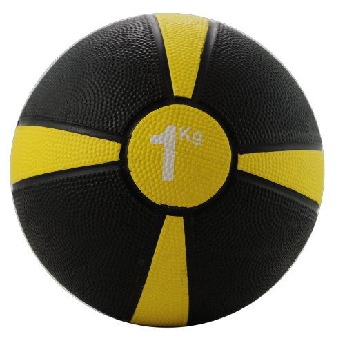 Fitness Mad Medicine Ball, Palla Medica Unisex – Adulto, Nero/Giallo, 1Kg