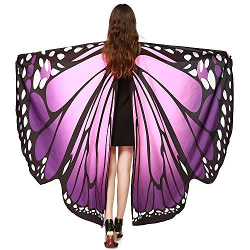 WOZOW Damen Schmetterling Flügel Kostüm Faschingkostüme Umhang Schals Nymphe Pixie Poncho Kostümzubehör Zubehör (Rosa-Lila)