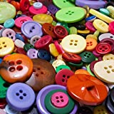 285 Gramm kunterbunt gemischte Nähknöpfe und Bastelknöpfe aus Kunststoff (ca. 500 - 600 Knöpfe) - Durchmesser ca. 10 bis 35 mm rund