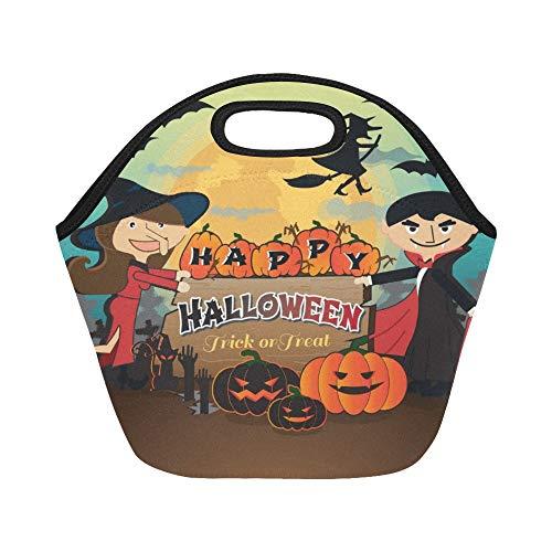 Isolierte Neopren-Lunch-Tasche Happy Halloween Scary Creepy Pack Trick Große wiederverwendbare Thermo-Dick-Lunch-Tragetaschen Für Brotdosen Für Outdoor, Arbeit, Büro, Schule
