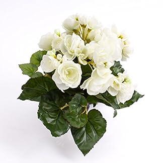 artplants.de Begonia Artificial con 27 Hojas, 9 Flores, Crema, 20cm, Ø 20cm – Planta Decorativa – Flores Artificiales